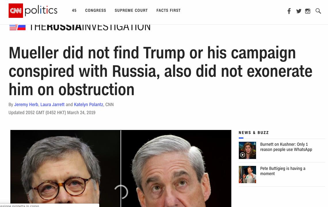 Ufficiale: il Russiagate era una fake news