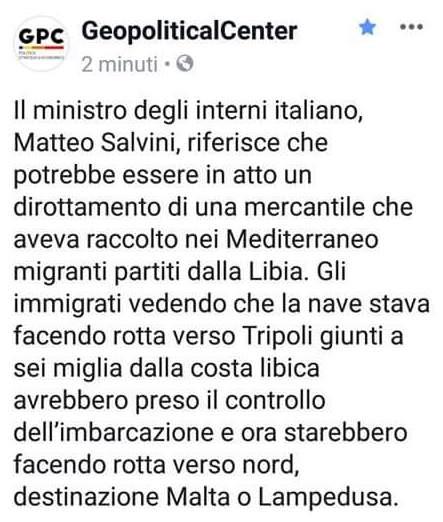 """Migranti dirottano mercantile e virano verso l'Italia? Salvini: """"Qui non sbarcheranno"""""""