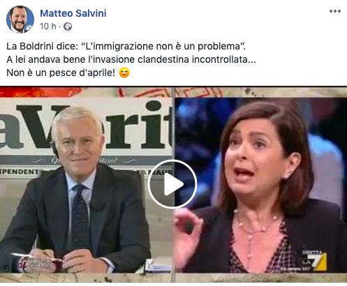 """Salvini contro Laura Boldrini: """"Vuole solo clandestini"""""""