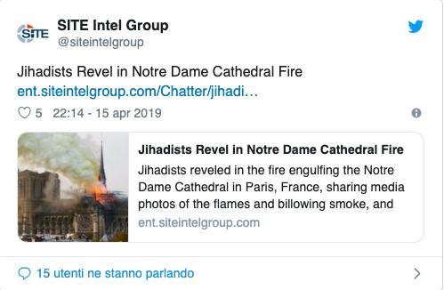 Notre Dame, gli islamisti esultano sul web