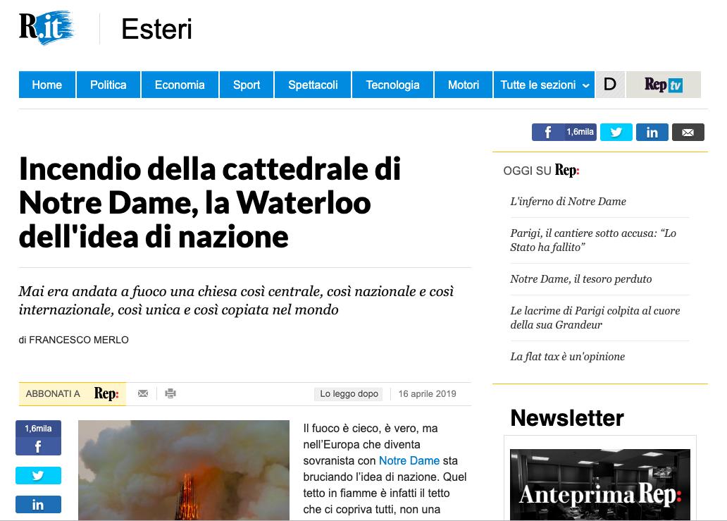 """Notre Dame, """"Repubblica"""" se la prende con i sovranisti"""