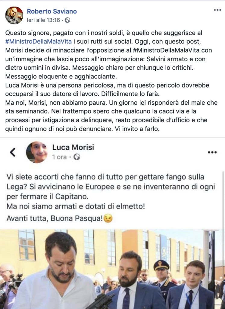 """Saviano delira su Facebook: """"I fucili della Lega, messaggio chiaro"""""""