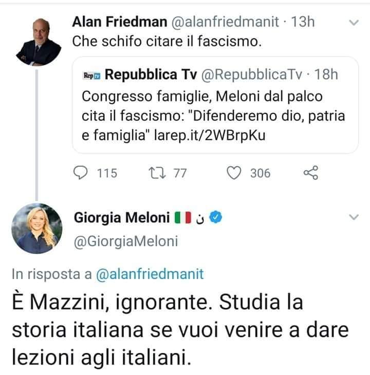 Gaffe di Friedman: confonde Mazzini per Mussolini