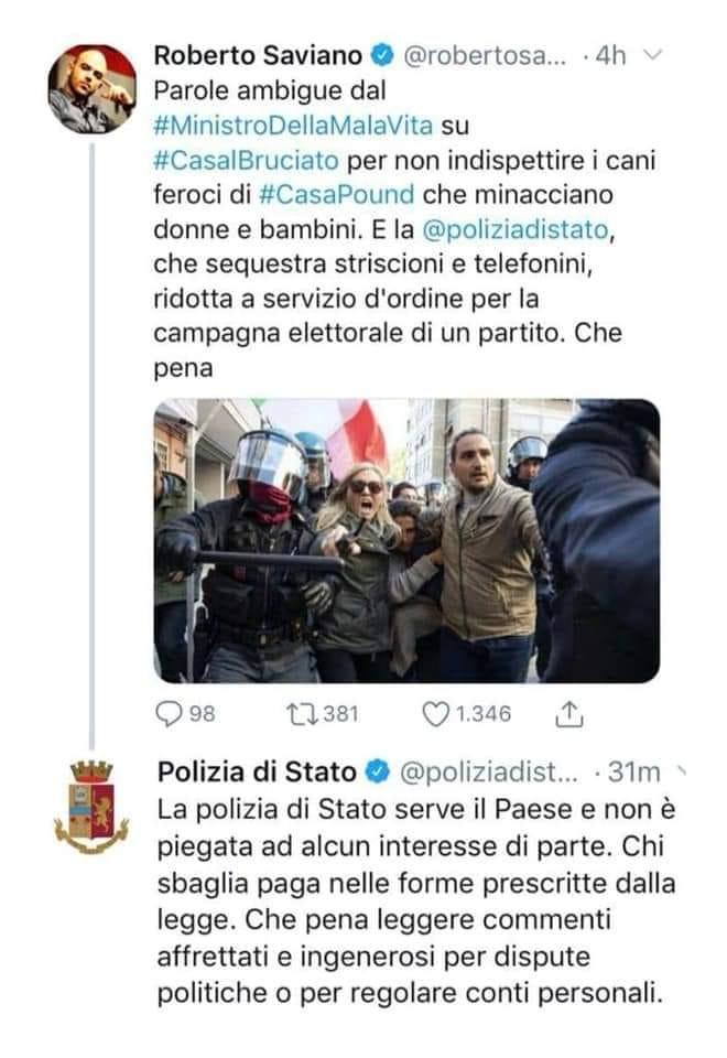 Saviano, altra figuraccia: così gli risponde la Polizia