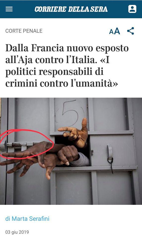 """L'Aja: """"Italia, crimini contro l'umanità"""". E il Corriere pubblica foto fake"""