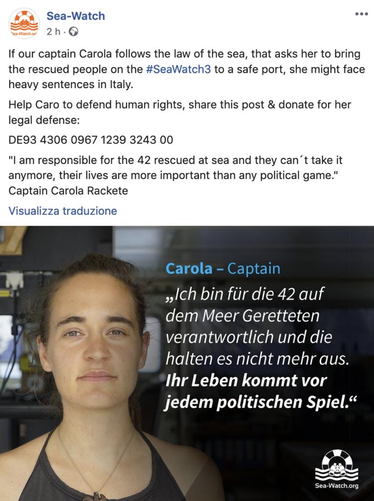 """Sea Watch, Carola Rackete insiste: """"Forziamo il blocco"""""""