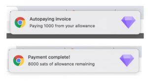 notifiche di avvenuto pagamento e saldo rimanente Joule Allowances