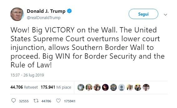 Vittoria di Trump: sì della Corte Suprema ai fondi per il muro col Messico