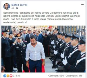 Salvini carabiniere