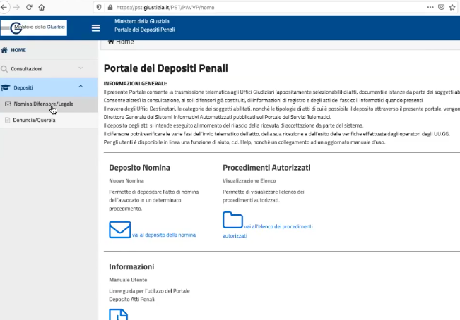 Il portale per il deposito atti penali