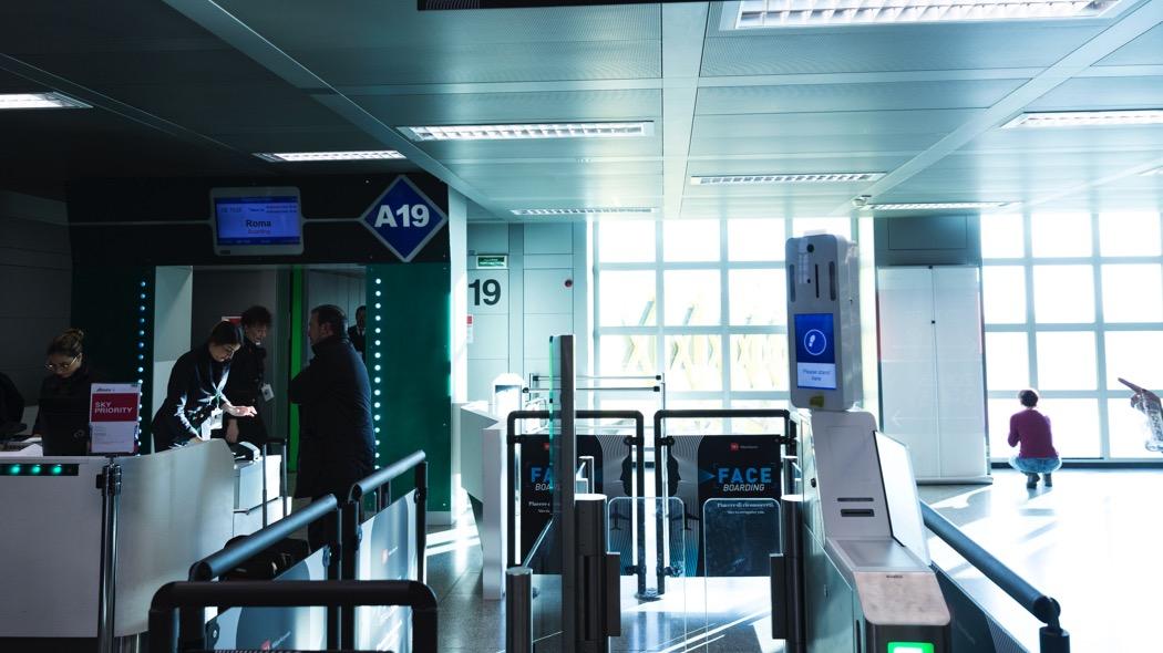 Riconoscimento facciale all'aeroporto di Linate (foto Sea, febbraio 2020)