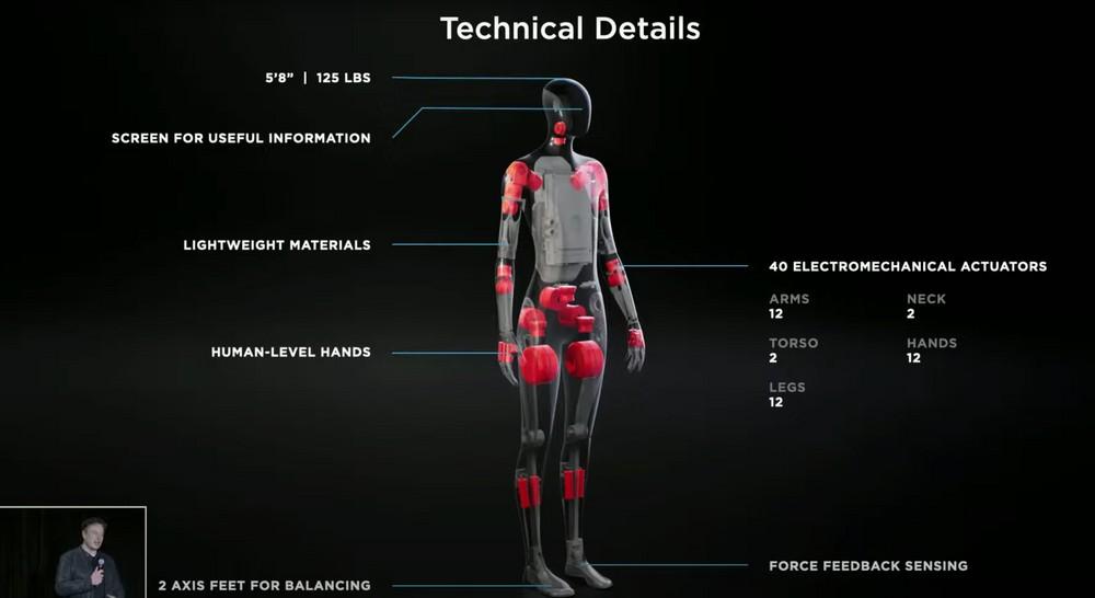 tesla bot hardware